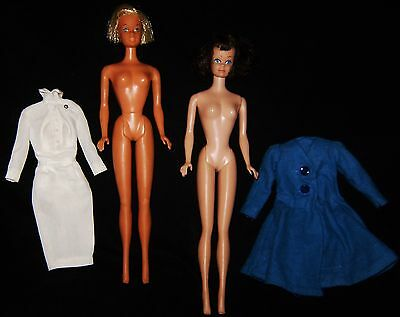 2 Vtg BARBIE Dolls 1962 Brunette MIDGE & 70's Sun Set MALIBU Twist N Turn JAPAN