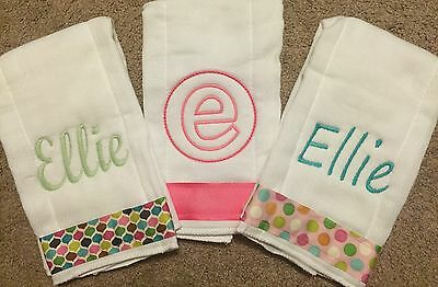 3 Personalized Baby Girl Burp Cloths
