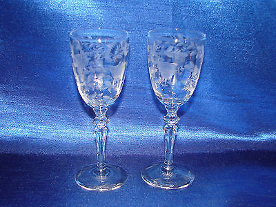 Pair 1930s Rock Sharpe  Etch Pattern 2011-1 Crystal Wine/Cordial Glass