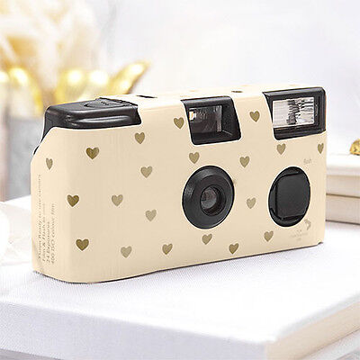 12 - Ivory and Gold Hearts Single Use Camera - Wedding Reception