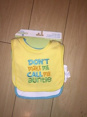 6 Baby Bibs Yellow Blue Auntie Lunch Smile