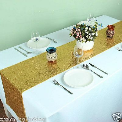 Lowest Prices 12''*72'' Gold Sequin Table Runner for Wedding Table On Sale !