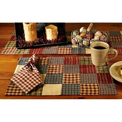 New Primitive Country Wine Green Blue QUILTED HOMESPUN PATCHWORK Table Placemat