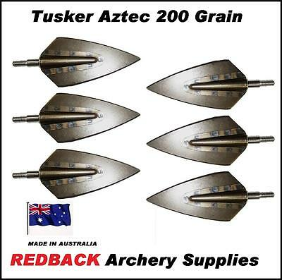Tusker Aztec 200 grain screw on Broadheads Pack of 6 for arrows