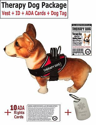 THERAPY DOG VEST + ID +  (10) ADA Rights Card/Booklet + Dog Tag -LuvDoggy Brand
