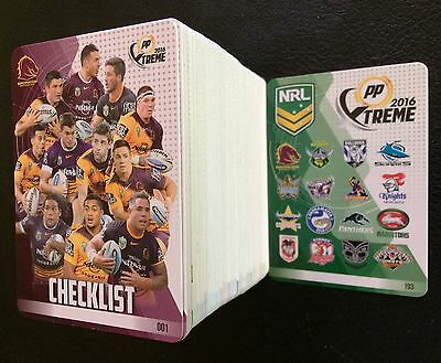 2016 Nrl Esp Powerplay Trading Cards Full Complete Base Set - 193 Cards