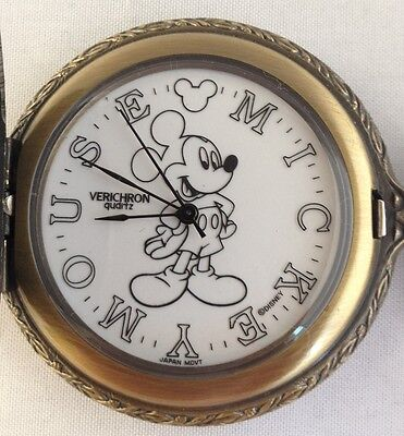 Rare Old Walt Disney Mickey Mouse Model 90001 Pocket Watch Works ***special*** Excellent Quality In