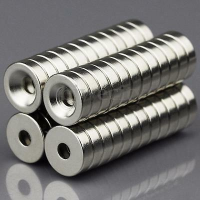 50Pcs 10 x 3mm Strong Rare Earth Magnet With 3mm Hole Ring Countersunk N50 Grade