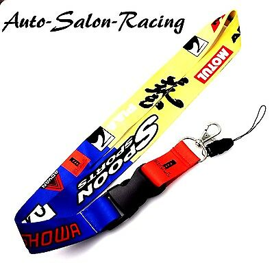 JDM SPOON SPORTS Racing Lanyard Keychain Neck Strap Quick Release 2 Sided Print