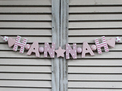 """hannah"" Wooden Wall Letters Door Name Baby Shower Decoration Shabby Chicchic"