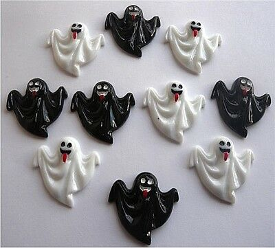 10 Halloween Ghost Black&white  Kitch Cabochons Decoden - Fast Free Shipping