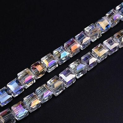 100pcs Faceted Suqare Crystal Glass Loose Spacer Beads For Jewelry Making 4-8mm