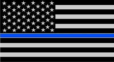 "TWO-3""x5""  Fallen Officer Thin Blue Line American Flag Reflective Decal Sticker"