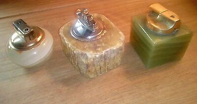 collectors lot vintage marble stone onyx lighters