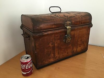 Vintage Railway Metal Steel Trunk Chest Box Storage 1930's