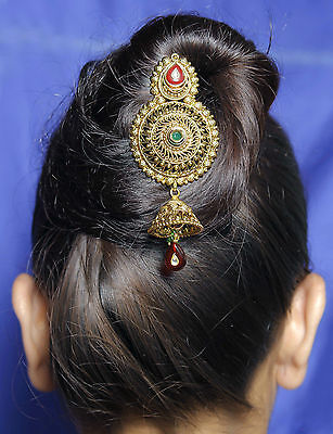 HP-02 Indian Traditional Hair & Head Jewelry Gold Tone Bun Pin Hair Accessories