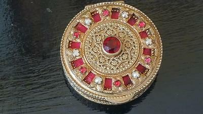 Antique  French Red, Pink & Pearl Jeweled Compact