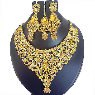 Indian Jewelry Ethnic Bollywood Gold Necklace Bridal New Traditional Fashion Set