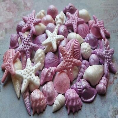 50 Edible sugar cake decorations shells sea stars cake cupcake toppers