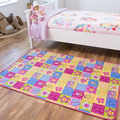 Multi Coloured Girls Play Mat Easy Clean Butterfly Flowers Kids Mat Baby Playmat