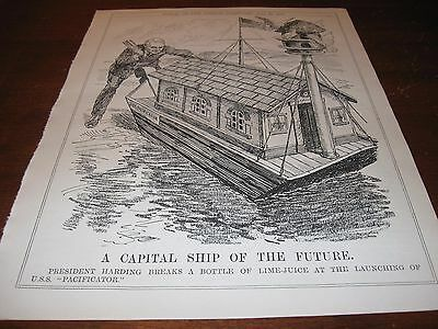 1921 Original POLITICAL CARTOON - PRESIDENT HARDING as PACIFIST Dry PEACE SHIP