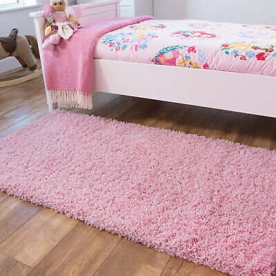 Kids Baby Pink Shaggy Rug Light Pink Bedroom Shaggy Soft Non Shed Easy Clean Mat