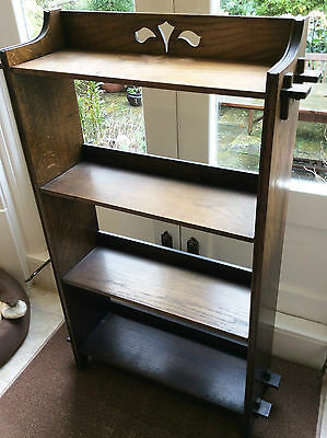 "antique Arts & Crafts style pegged oak four shelved bookcase 39.5"" x 22"" x  8"""
