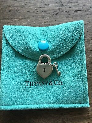Authentic Tiffany & Co heart lock with key (opens and close) charm