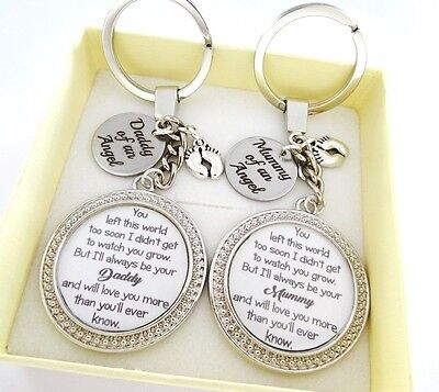 S.keyring SET Left Too Soon - Daddy/Mummy of an Angel disc,Babyloss,stillborn 10