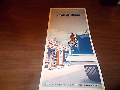 1954 Atlantic Oil Greater Miami Vintage Road Map
