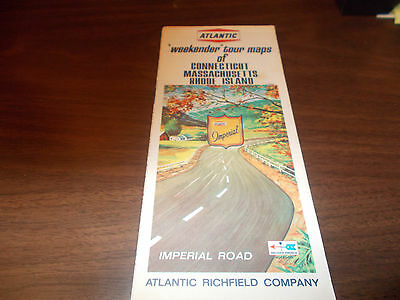 "1966 Atlantic Oil ""Weekender Tours"" Conn/Mass/RI Vintage Road Map"