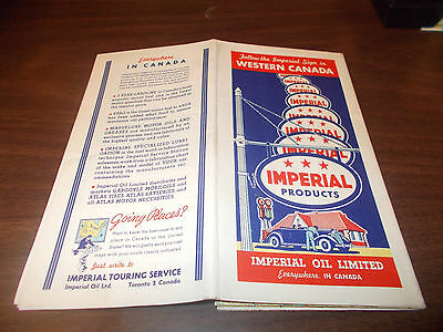 1936 Imperial Oil Western Canada Vintage Road Map / Nice Graphics