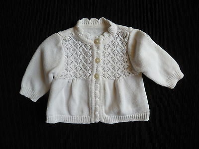 Baby clothes GIRL 0-3m soft white George LS cotton-mix cardigan SEE SHOP!