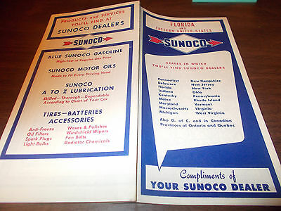 Florida State Road Map.Vintage 1953 Sunoco Oil Gas Florida State Highway Road Map Miami
