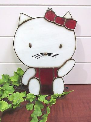 """Stained Glass Red & White Hello Kitty Wall Art Children's Room, 9"""" X 6 1/2"""""""