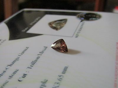 Rare Certified  1.15 Carat Trillion Cut Colour Change Garnet.