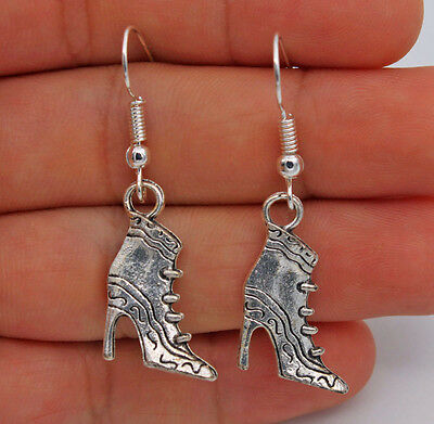 925 Silver Plated Hook - 1.7'' High Heels Retro Women Evening Prom Earrings #61