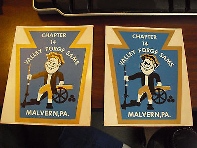 Lot of 2 Vintage Window Stickers Chapter 14 Valley Forge Sams Malvern PA