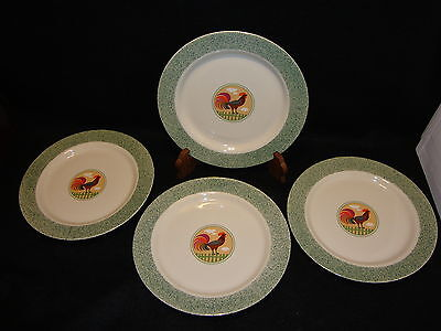 International China Tableworks COUNTRY INN DINNER PLATES Lot x 4 Rooster Chicken