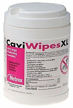 Caviwipes Surface Disinfectant, Premoistened, Manual Pull Canister, Box of 66