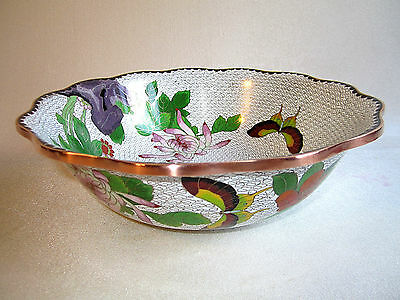 Asian Japanese JINGFA Chrysanthemum Butterfly Floral Brass Cloisonne Bowl 10.25""
