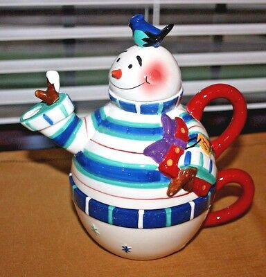 Byrd Cookie Company Snowman Figural Tea-in-One, 3 Pc Porcelain Set
