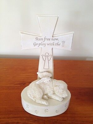 Pet Dog Memorial with Angel's Wings and Cross - Run Free - New