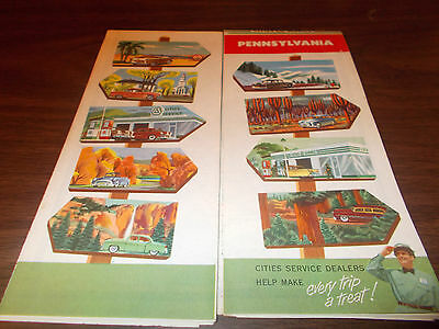 1954 Cities Service Pennsylvania Vintage Road Map