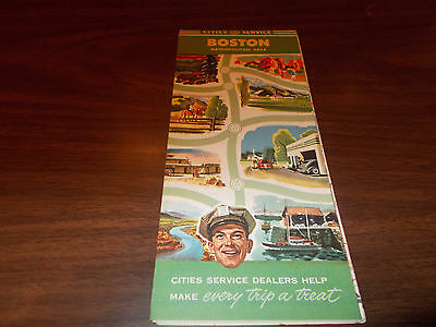 1940s Cities Service Boston Vintage Road Map