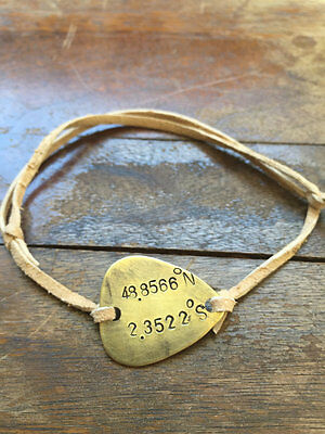 Latitude Longitude Coordinates - Antique Distressed Brass Guitar Pick