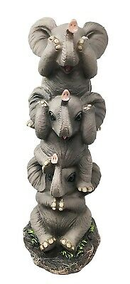 "10.5"" Height See Hear Speak No Evil Stacking Elephants Pachyderm Figurine Decor"