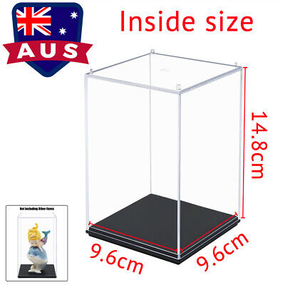AU 16cm H Clear Acrylic Display Case Perspex Box Plastic Base Dustproof Figure