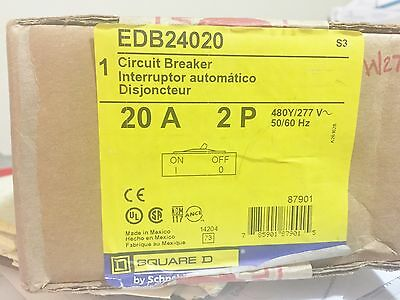 New Sealed Square D Edb24020 2 Pole 20 Amp Circuit Breaker Best Price Free Ship