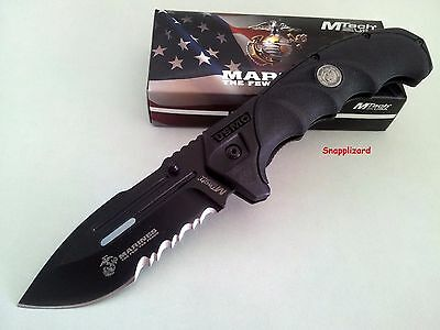 "US Marines MTech M-1053BK The Warden 5"" Flipper Folding Pocket Knife Combo Edge"
